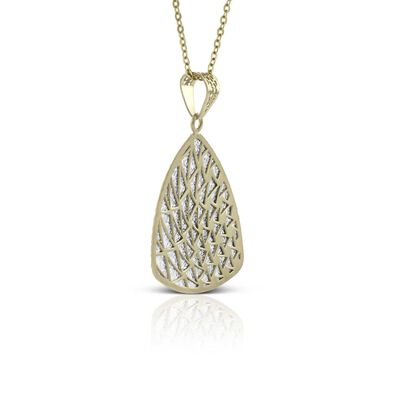Toscano Laser Cut Shield Necklace 14K