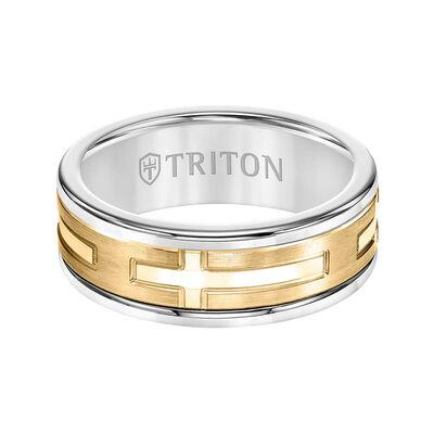 TRITON Custom Comfort Fit Cross Band in White Tungsten & 14K, 8 mm