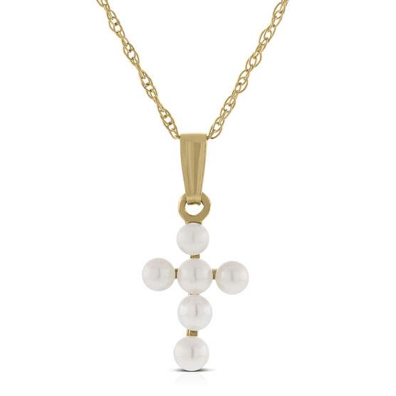 Baby Cross Cultured Pearl Pendant 14K