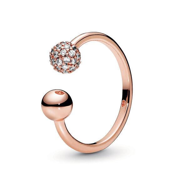 Pandora Polished & Pavé CZ Bead Open Ring