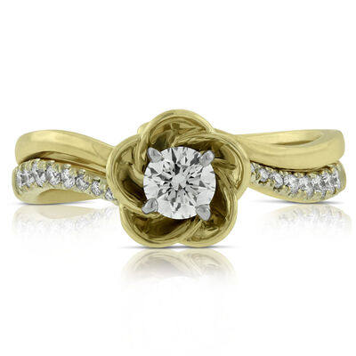 Diamond Flower Wedding Set 14K