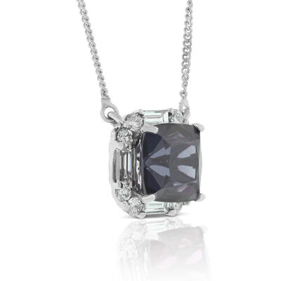 Gray Spinel & Diamond Necklace 14K
