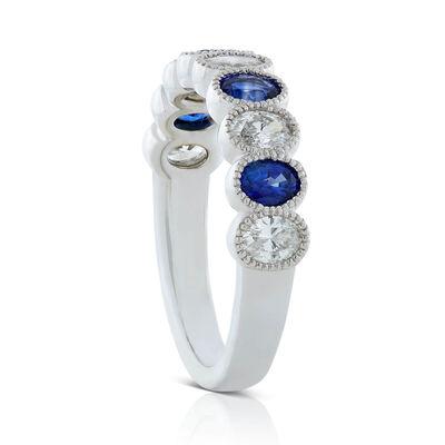 Alternating Oval Sapphire & Diamond Band 14K