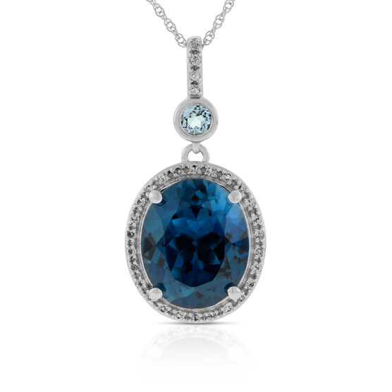 London Blue Topaz Pendant 14K