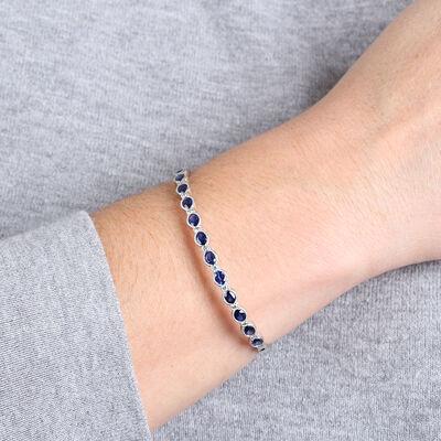 Sapphire & Diamond Bangle Bracelet 14K