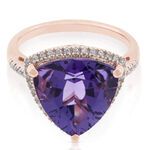 Rose Gold Trilliant Amethyst & Diamond Ring 14K