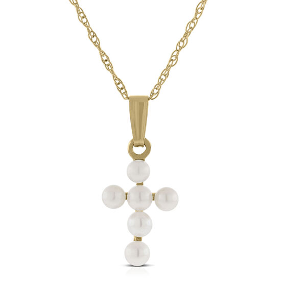 Baby Cross Cultured Pearl Pendant 14K