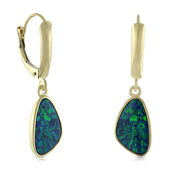 Opal Doublet Dangle Earrings 14K