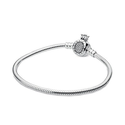 Pandora Moments Pandora Crown O & Snake Chain CZ Bracelet