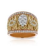 Pear Shaped Center Diamond Cluster Filigree Ring 14K