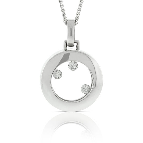 Looking Glass Floating Diamond Pendant 14K