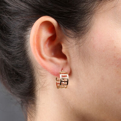 Toscano Bar Hoop Earrings 14K