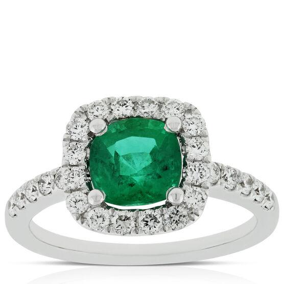 Cushion Emerald & Diamond Ring 14K