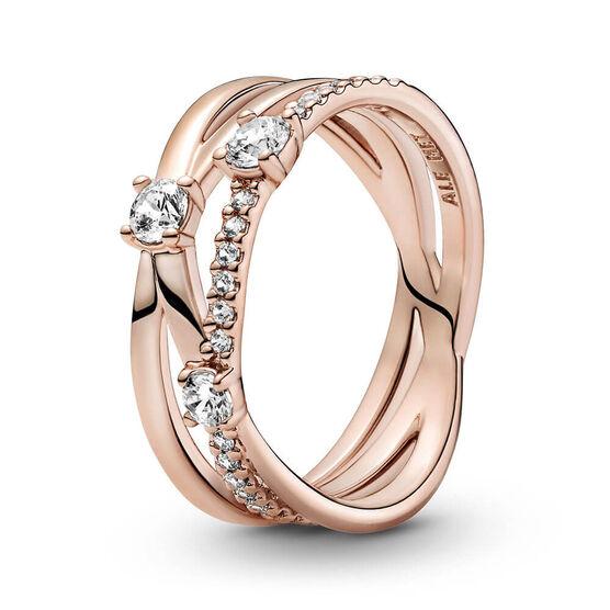 Pandora Rose™ Sparkling CZ Triple Band Ring