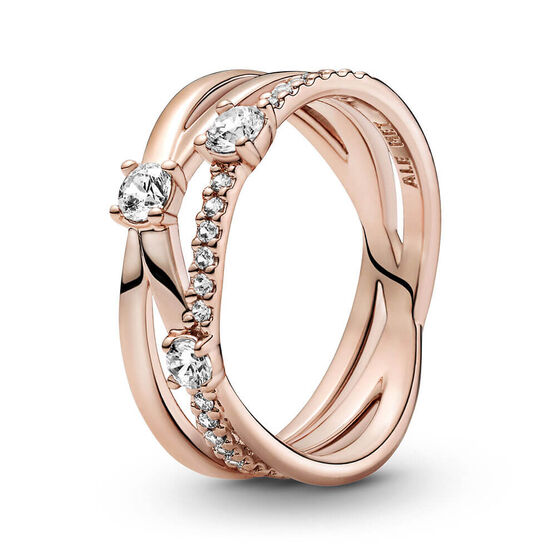 Pandora Sparkling CZ Triple Band Ring
