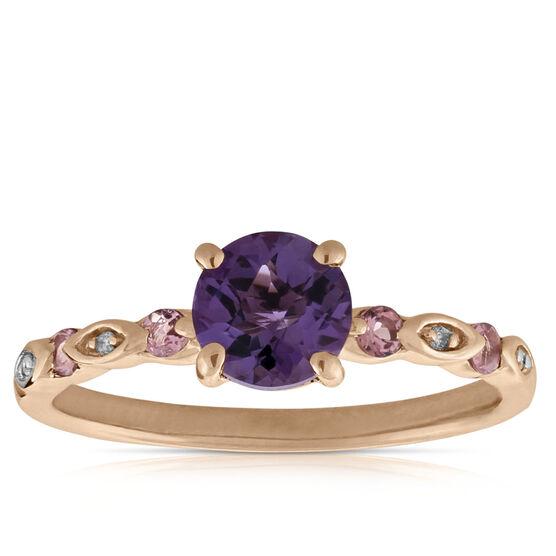 Rose Gold Amethyst, Diamond & Tourmaline Ring 14K