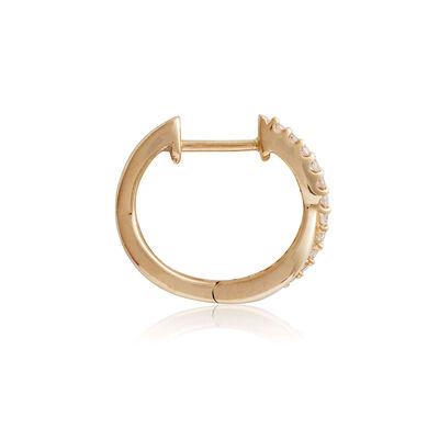Crossover Diamond Huggie Hoop Earrings 14K
