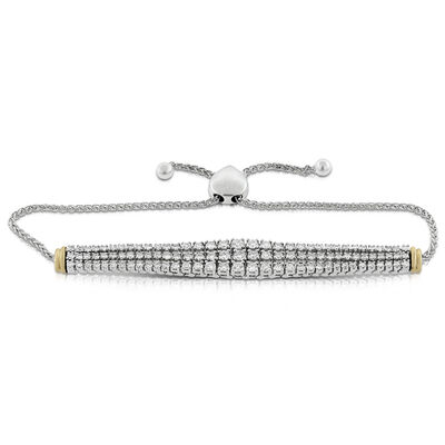 Bolo Three Row Diamond Bracelet 14K, 3 ctw.