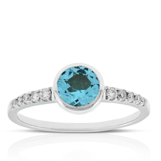 Bezel Set Blue Topaz & Diamond Ring 14K