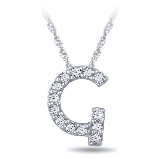 Diamond Initial Pendant 14K Letter 'G'