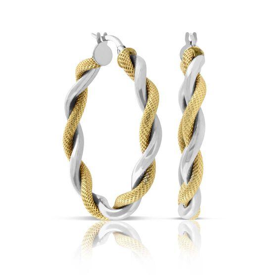 Toscano Twisted Hoop Two-Tone Earrings 14K