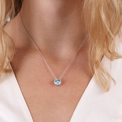 Blue Zircon & Diamond Halo Pendant 14K