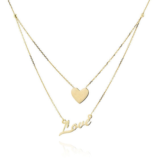 Duet Layered Love Necklace 14K
