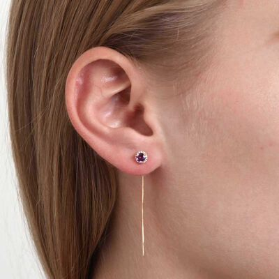 Amethyst & Diamond Halo Threader Earrings 14K