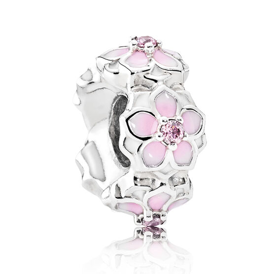 Pandora Magnolia Bloom, Enamel & CZ Spacer
