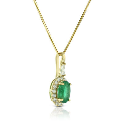 Oval Emerald & Diamond Halo Necklace 14K