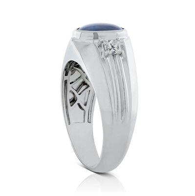 Oval Star Sapphire & Diamond Ring 18K