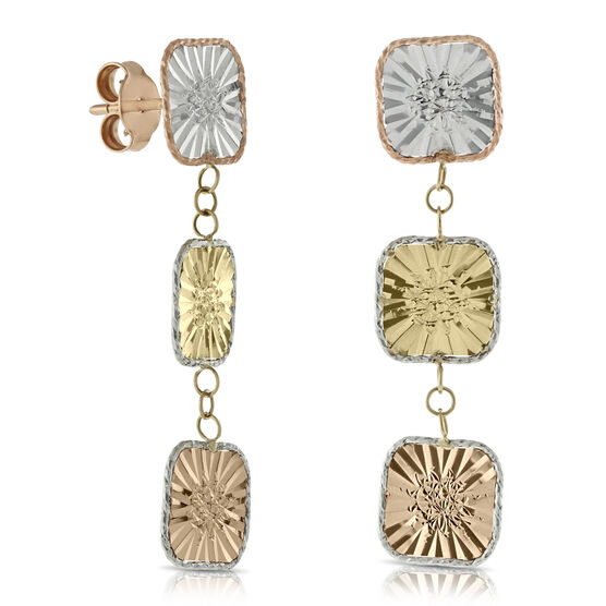 Toscano Square Tri-Color Earrings 14K