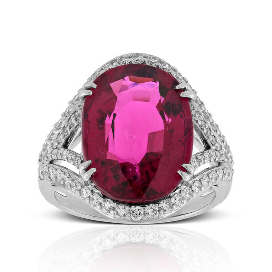 Rubelite Tourmaline & Diamond Ring 14K