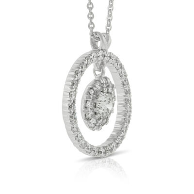 Halo Cupcake Diamond Pendant 14K