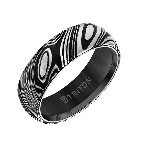 TRITON Contemporary Comfort Fit Band in Black Tungsten & Damascus Steel, 7 mm