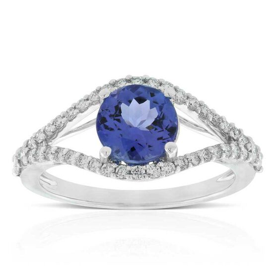 Tanzanite & Diamond Split-Shank Rink 14K