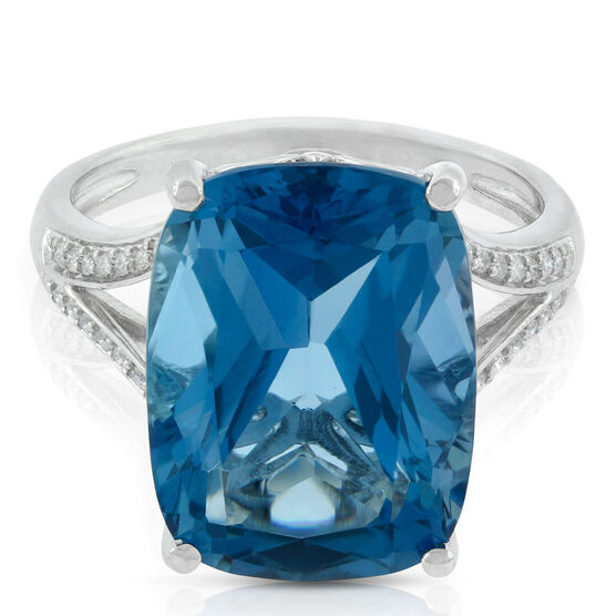 Cushion Blue Topaz & Diamond Ring in White Gold 14K