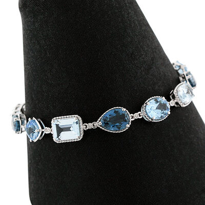 Mixed Cut Blue Topaz & Diamond Bracelet 14K