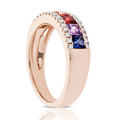 Rose Gold Rainbow Sapphire & Diamond Ring 14K