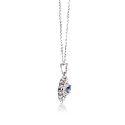 Sapphire & Diamond Sunburst Necklace 14K