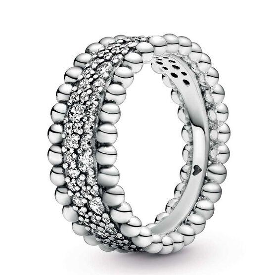Pandora Purely Pandora Beaded Pavé CZ Band Ring
