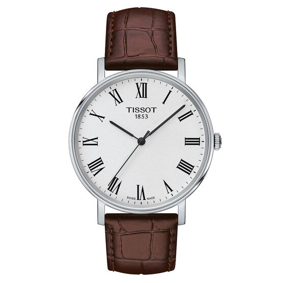 Tissot Everytime Medium Silver Dial Leather Quartz Watch, 38mm
