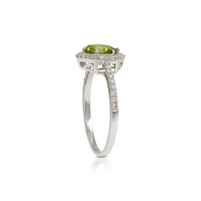 Peridot & Hexagon Diamond Halo Ring 14K