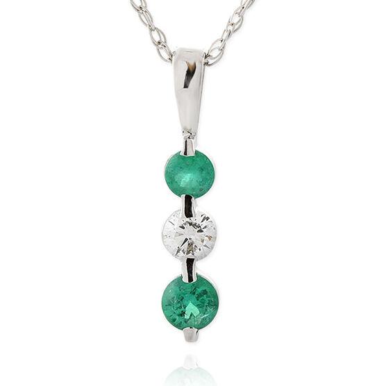Graduated Emerald & Diamond Pendant 14K