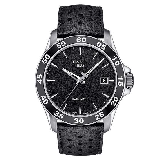 Tissot V8 Swissmatic Black Dial Leather Automatic Watch, 42.5mm