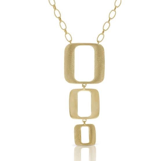 Toscano Triple Open Geometric Drop Necklace 18K