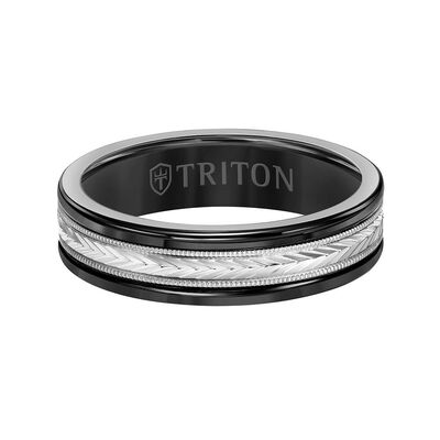 TRITON Custom Comfort Fit Herringbone Band in Black Tungsten & 14K, 6 mm