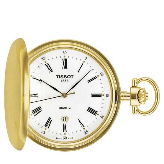 Tissot Savonnette White Dial Gold PVD Quartz Pocket Watch, 48.5mm