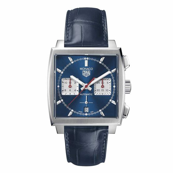 TAG Heuer Monaco Heuer 02 Automatic Mens Blue Leather Chronograph Watch