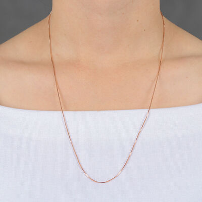 Rose Gold Adjustable Box Chain 14K, 22""